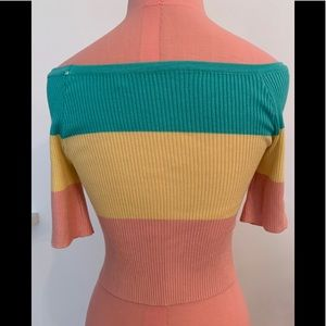 Ribbed striped knit off the shoulder top